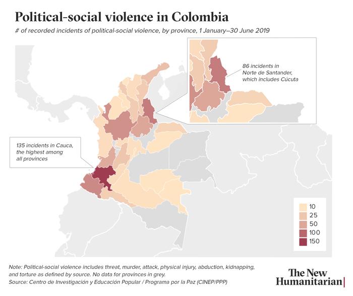 colombia venezuela social political violence map cucuta detailed copy